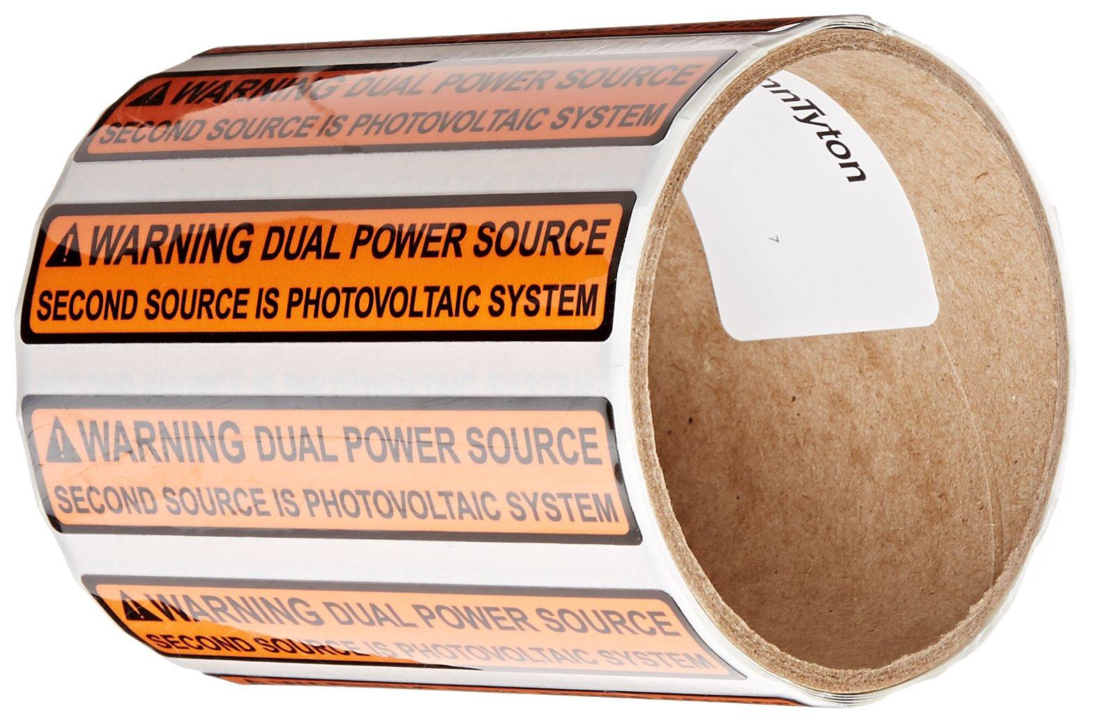 HellermannTyton 596-00495 Pre-Printed Solar Label, 4.12'' X 0.75'', WARNING - DUAL POWER SOURCE…, Orange (Pack of 50)