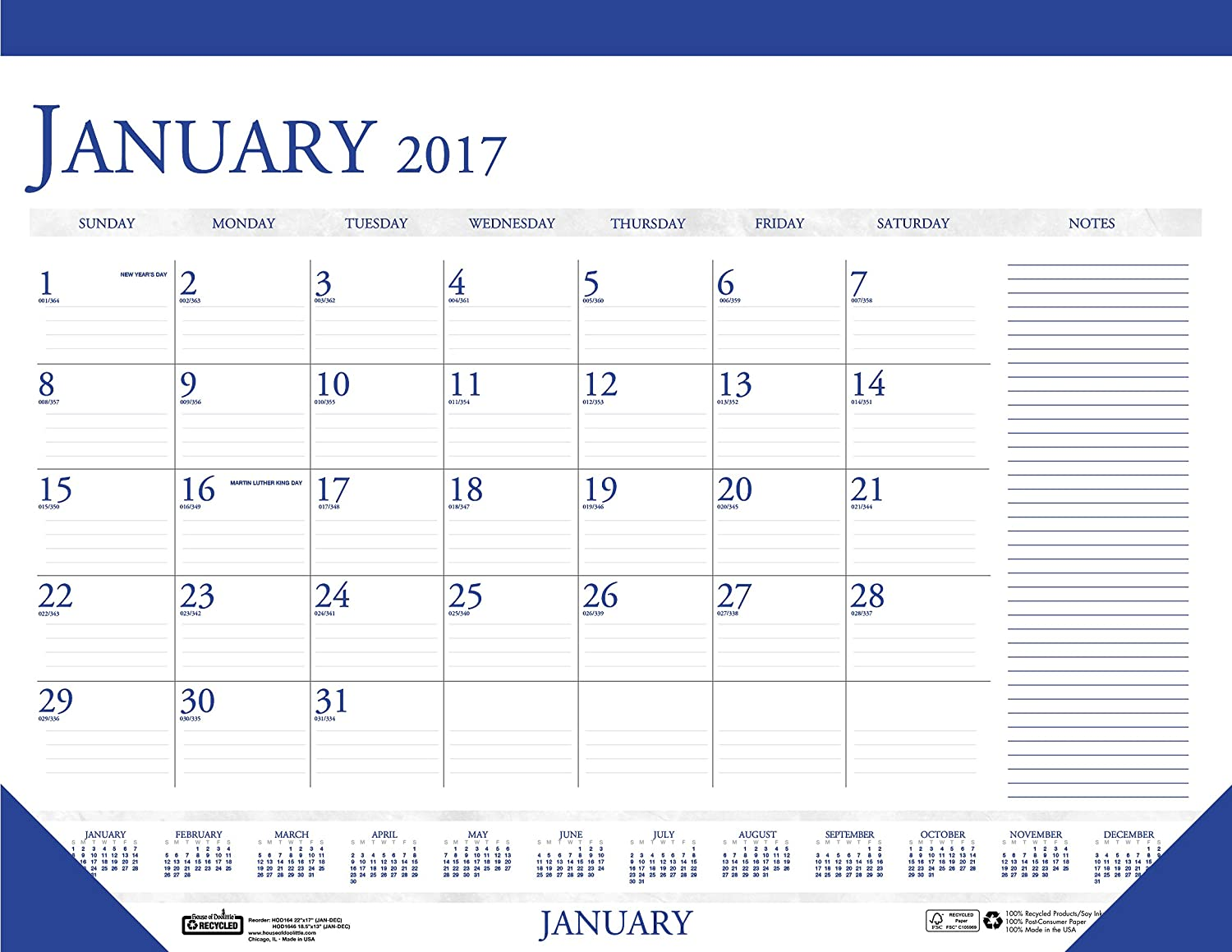 House of Doolittle 2017 Monthly Desk Pad Calendar, Classic with Notes Section, 22x17-Inch (HOD164-17) House of Doolittle CA