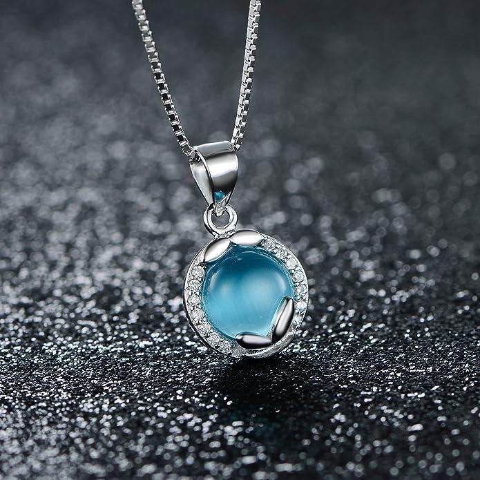 JiangXin Women's Jewellery Sets Cat's Eye Gemstone 925 Sterling Silver Earring Studs Pendant Necklace crGTkvF2hr