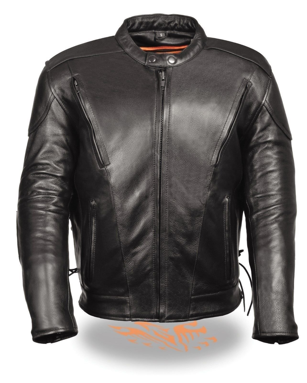 MEN'S MOTORCYCLE BLK VENTED LEATHER JACKET WITH 2 GUN POCKETS UPTO SIZE 12XL (5XL Regular)