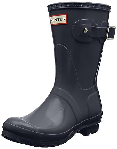 HUNTER Damen Low Wellington Boots Gummistiefel, Dark Slate
