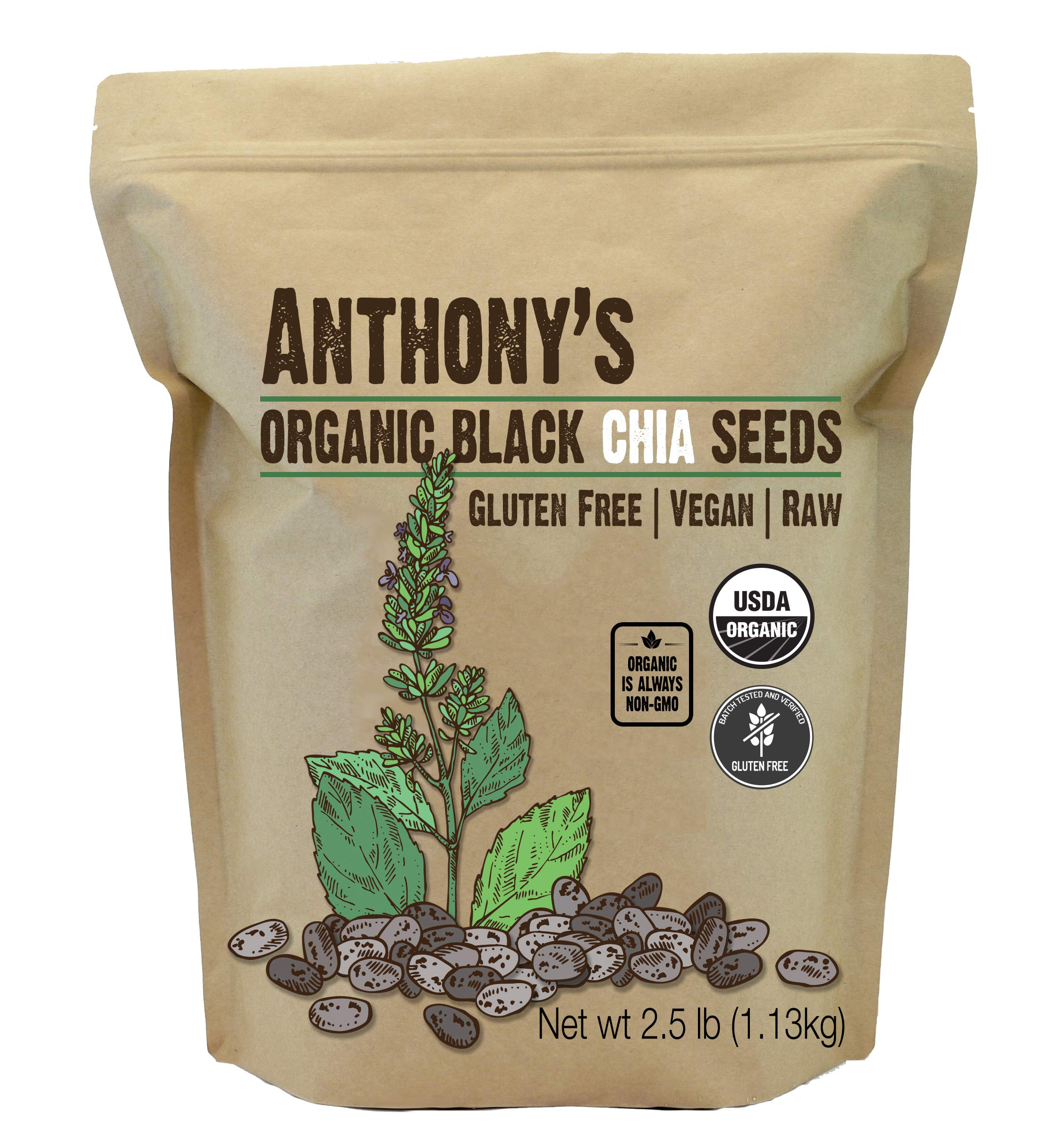 Anthony's Organic Chia Seed, 2.5lbs, Gluten Free, Vegan, Raw, Keto Friendly by Anthony's