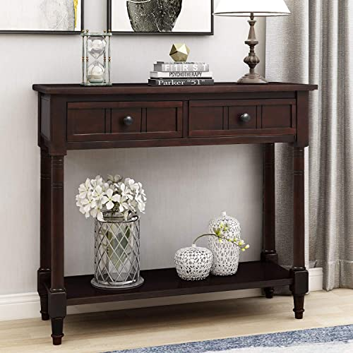 P PURLOVE Console Table Sideboard Wooden Sofa Table with 2 Drawers and Bottom Shelf for Bedroom Dark Espresso