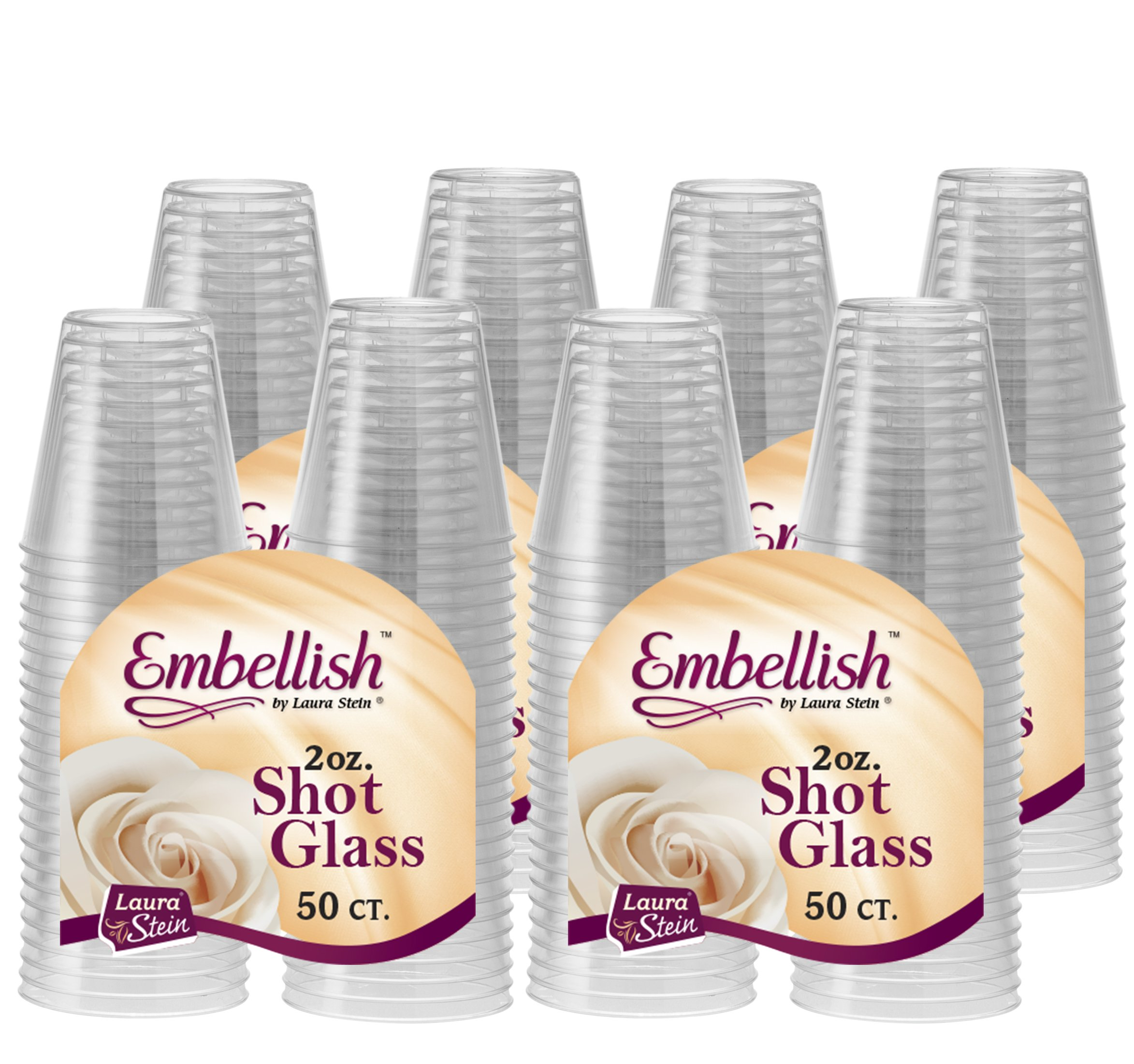 [200 Count] Embellish, 2 oz Crystal Clear Disposable Hard Plastic Shot Glass, Great for Whiskey, Jello, Shots, Tasting, Sauce, Dips, Samples, Perfect For Home, Bar, Parties, or Receptions by Embellish