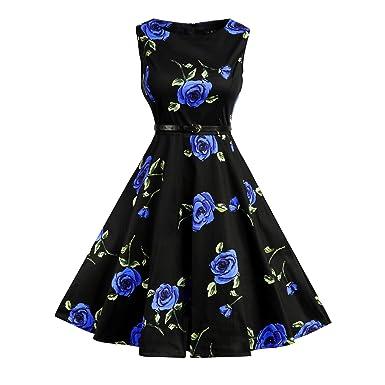 Lylafairy Damen A-Linie 50er Vintage Abendkleid Rockabilly Kleid Knielang  Festliches Pin Up Kleid Partykleider Cocktailkleider  Amazon.de  Bekleidung c8fa0fb4a3