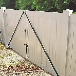 Plum Fittings Adjustable Black Steel Gate Brace   Anti-Sag Gate Kit   Gate Brace Kit for Outdoor Wood or Metal Gates   Max Length 6 Foot Min Length 4 Foot (Single Gate Brace)