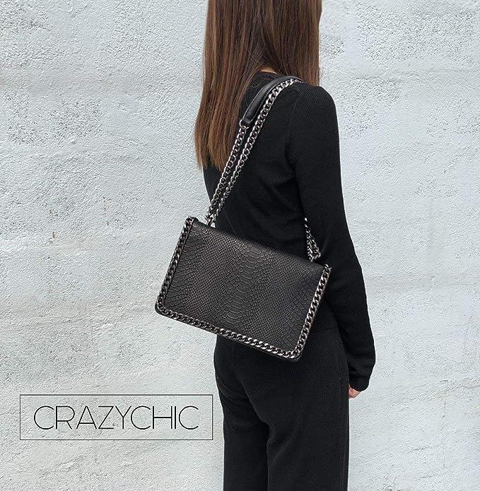 CRAZYCHIC - Women s Chains Crossbody Bag - Snakeskin Python PU Leather  Shoulder Handbag - Quilted Clutch Evening Messenger Bag - Pochette Purse  Party ... 5e48c59ba0080