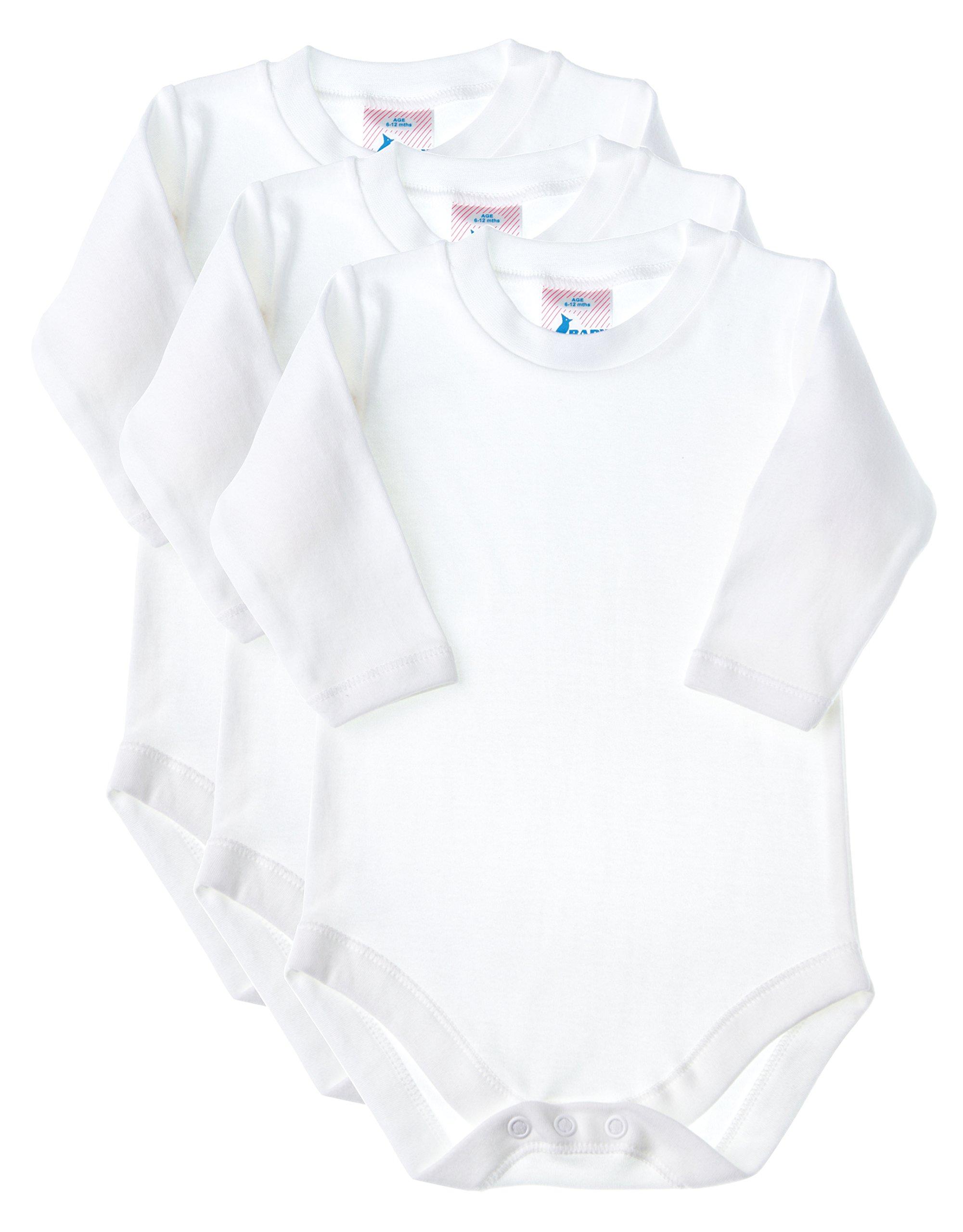 Baby Jay Soft Cotton Onesies, Long Sleeve Unisex Bodysuit, WSLR 12-18 3-Pack