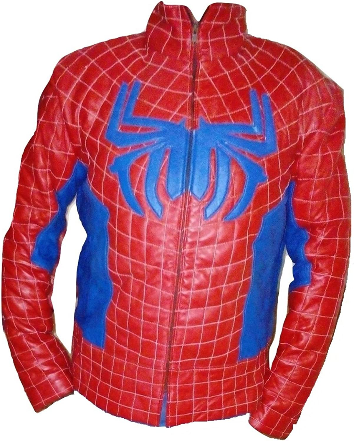 Bestzo Mens Fashion Spiderman New Homecoming Real Leather Jacket Red//Blue XS-5XL