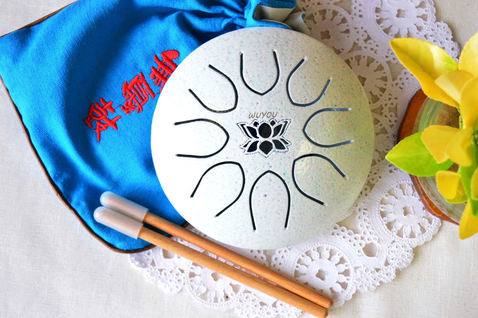 WuYou Hand-tune 5in Steel tongue Drum HandpanChakra Drum, Free bag and mallets, White