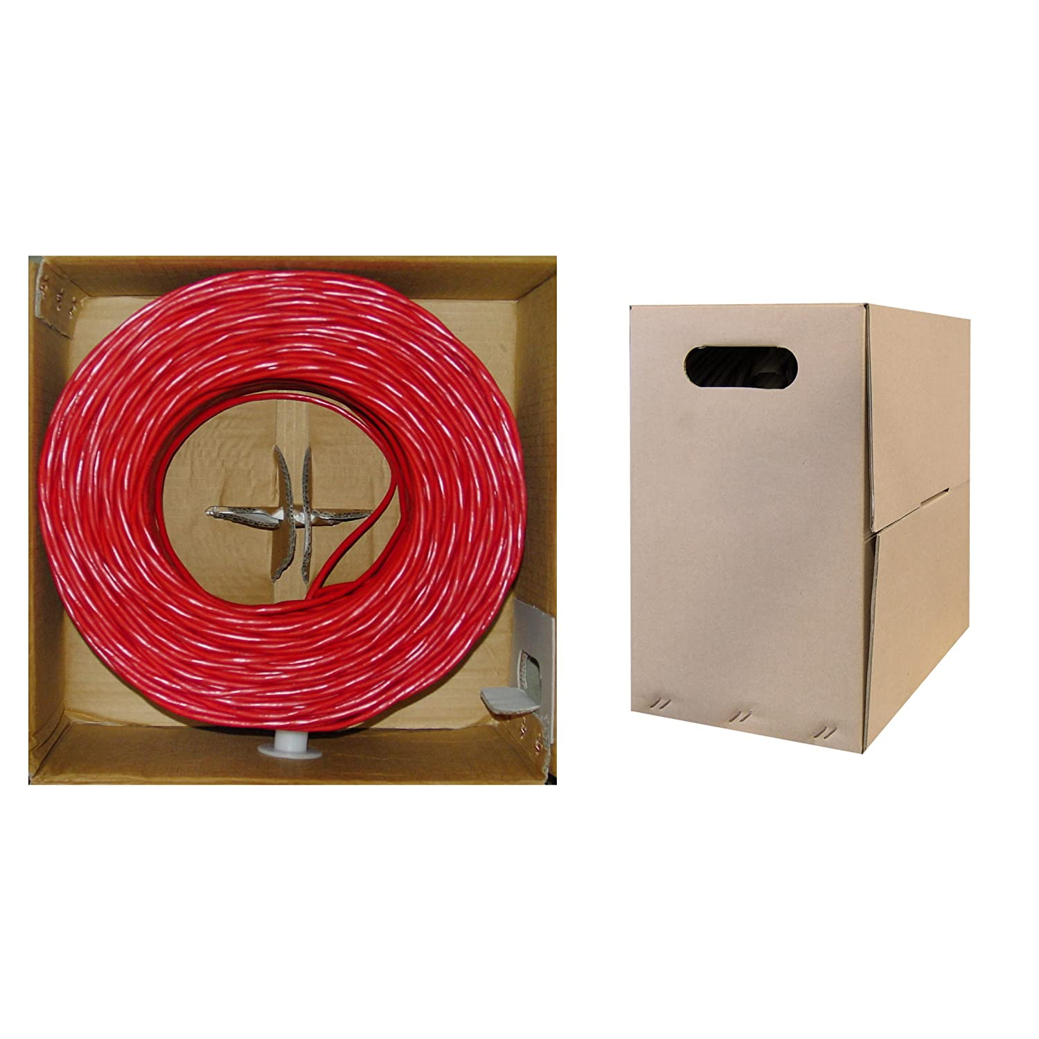 CLASSYTEK Plenum Cat6 Bulk Cable UTP Unshielded Twisted Pair Red 23 AWG Solid CMP Pullbox 1000 Foot