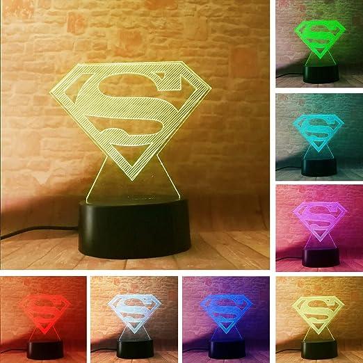 New DC Legends Superman Logo Symbol Controler 7 Color Dimming Gradient  Action Figure Table Bedroom Decor Child Man Boys Xmas Kids Xmas Birthday ...