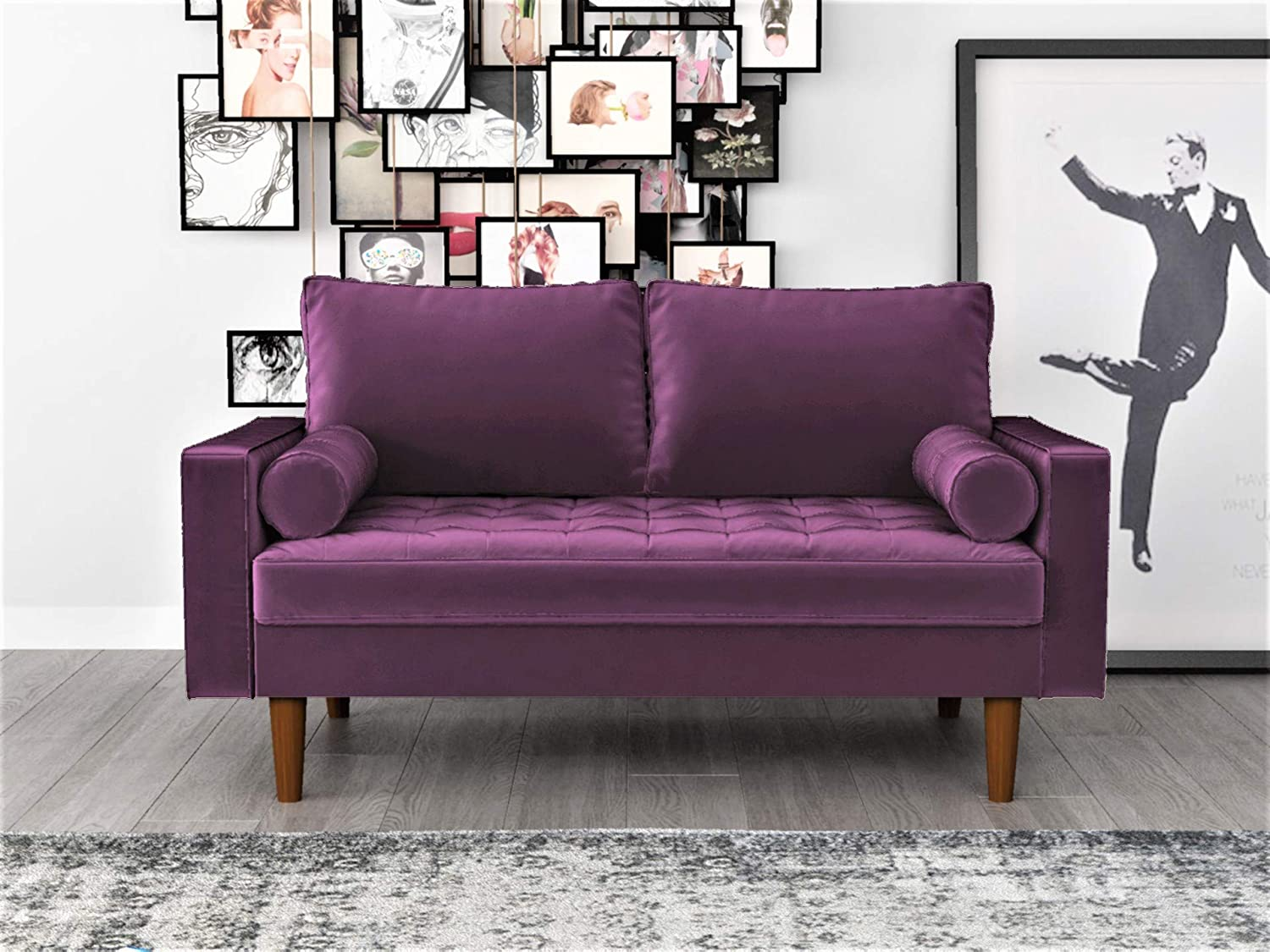 Container Furniture Direct Mid Century Modern Velvet Upholstered Button Tufted Living Room Sofa 2 Piece Set Eggplant
