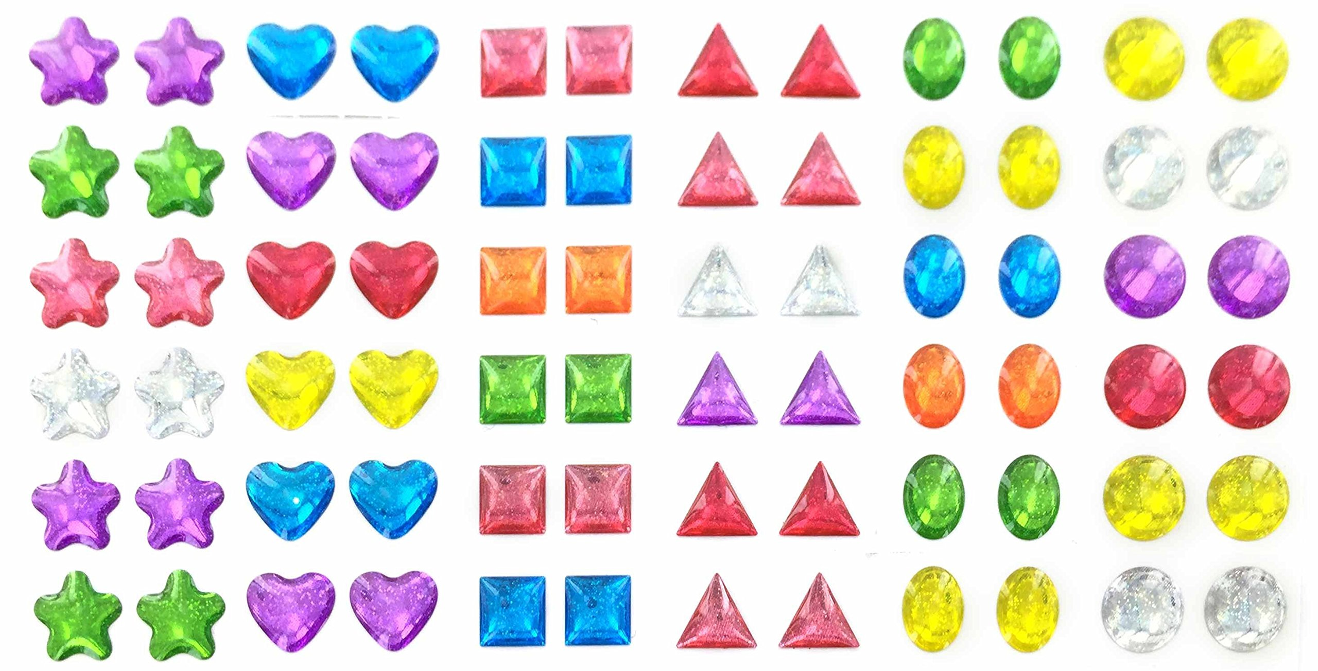 288 Piece Glitter Sparkle Stick-on Earrings - 288 Earrings - Multiple Colors & Shapes - Girls, Teens