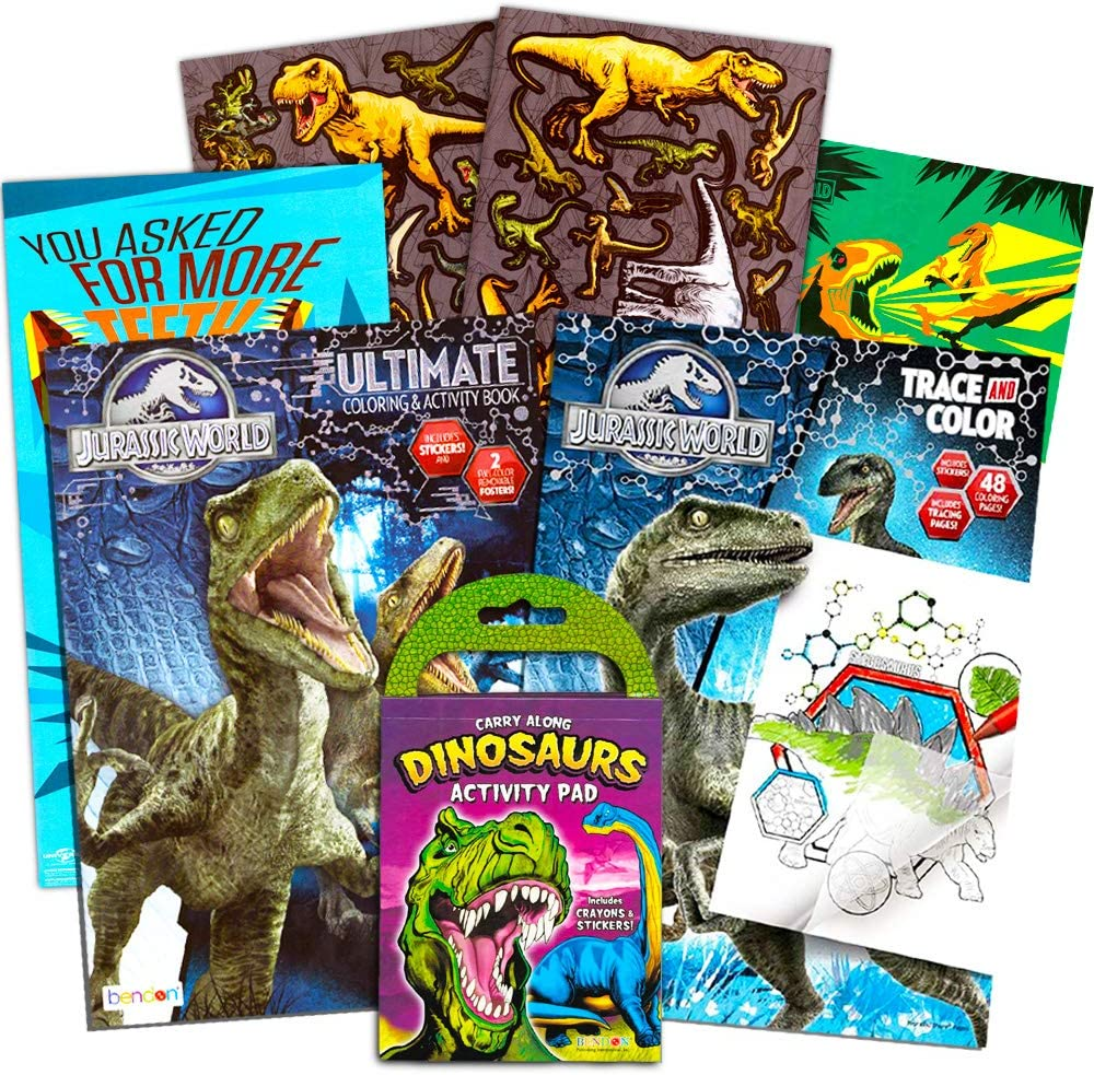 Jurassic World Coloring Book Set with Stickers and Posters (3 Books)