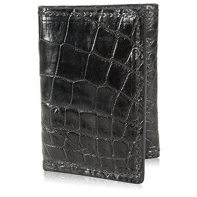 5e4a14c93 Black Genuine Alligator Skin Trifold 9 Card Leather Handmade Wallet ...