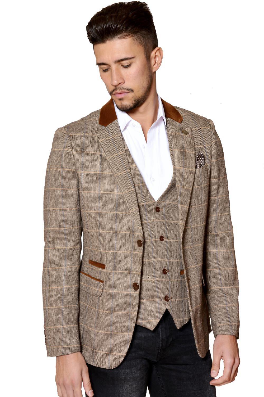Marc Darcy Mens Designer Tan Heritage Tweed Check Blazer Or Waistcoat