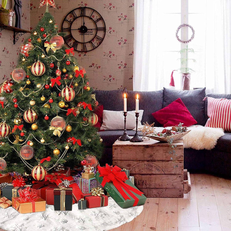 78cm Peluche Tappeto Gonne per Alberi di Natale Tappetino Copertura per Festa di Natale Vacanza Decorazione N //A Bianca Gonna per Albero di Natale con Argento Fiocchi di Neve Argento, 30 Pollici