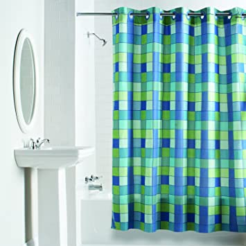 Amazon Hookless RBH40WM04F Checkmate Polyester NO Line With Flex On Rings Shower Curtain Green Blue Home Kitchen