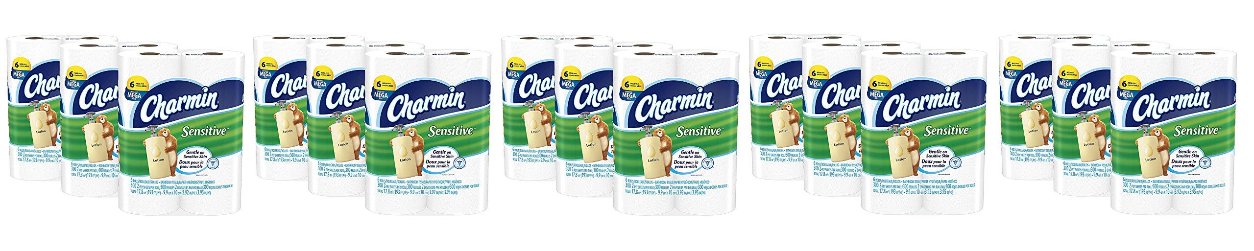 Charmin QOxWir Sensitive Toilet Paper, Mega Roll,Bath Tissue, 5 Pack of 18