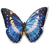 Charming Blue Butterfly Pillow Photo-Realistic Image Printed on a Stuffed Throw Cushion