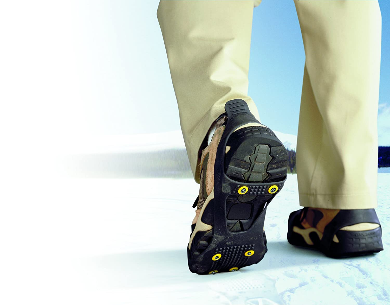 Perfect Solutions PS2545BK Black Large Perfect Solutions Ice Traction Slip-Ons Stretch-On Traction Footgear For Ice And Snow E /& B Giftware One Size