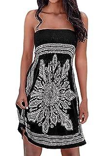 19cbeb8af8 Chicgal Women's Beach Dresses Summer Cover Up Boho Strapless Floral Print  Sundress