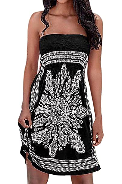 bc8f6f6bf9 Chicgal Women's Coverup Dress Bohemian Beach Dress Strapless Floral Print  Cover-up Dresses (Black02