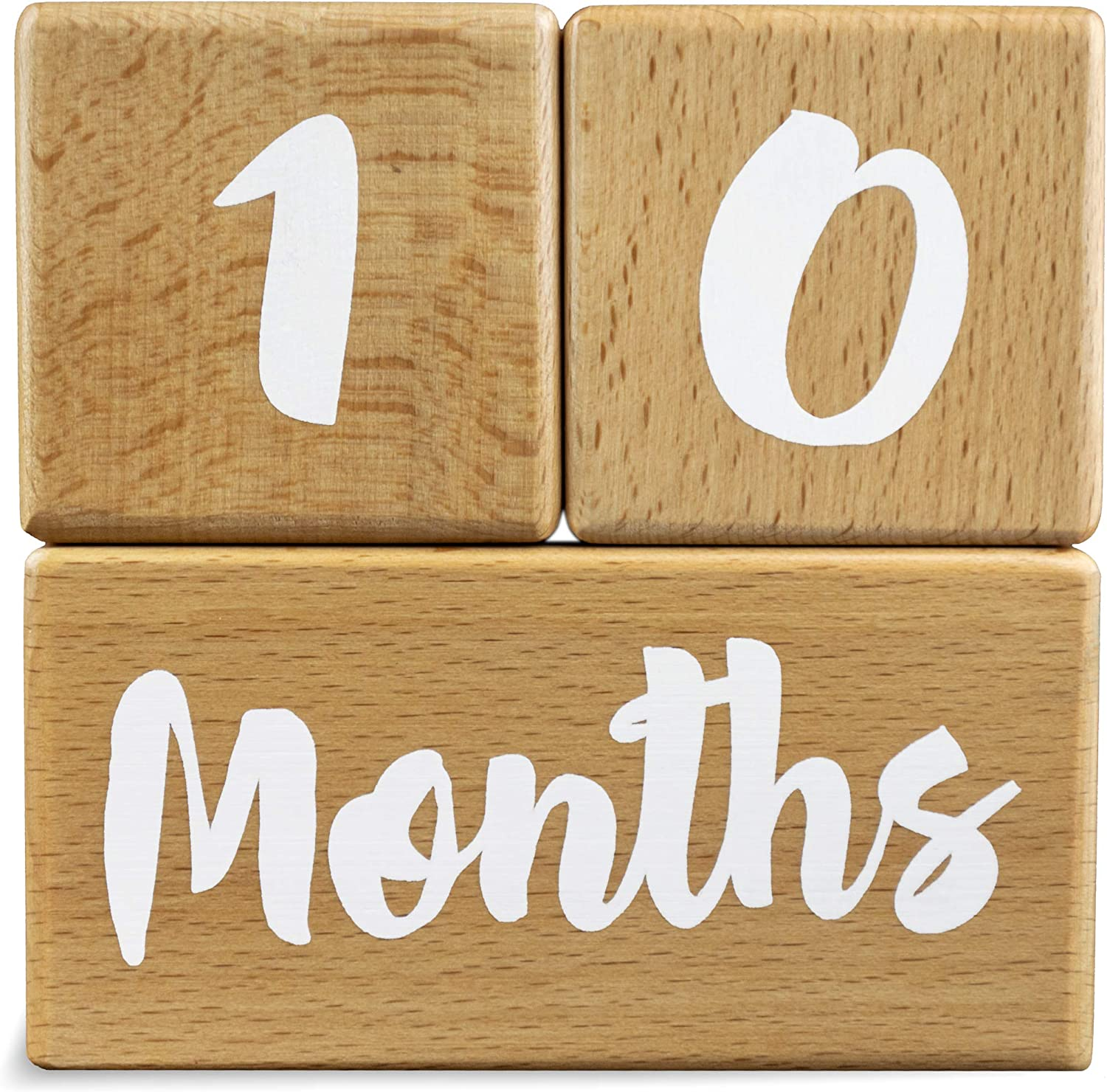 Newborn Infant First Year 3 Pc. Set Shower Real | 1-52 Weekly Natural Wood Keepsakes and Yearly Photo Props Monthly Growing Gifts Baby Milestone Blocks for Boys and Girls UPDATED PRODUCT
