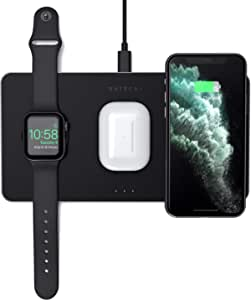 Satechi Trio Wireless Charging Pad - Qi-Certified - Compatible with iPhone 11 Pro Max/11 Pro/11, AirPods Pro, Apple Watch Series 6/SE/5/4/3/2/1 - Does Not Support iPhone 12 Models with MagSafe