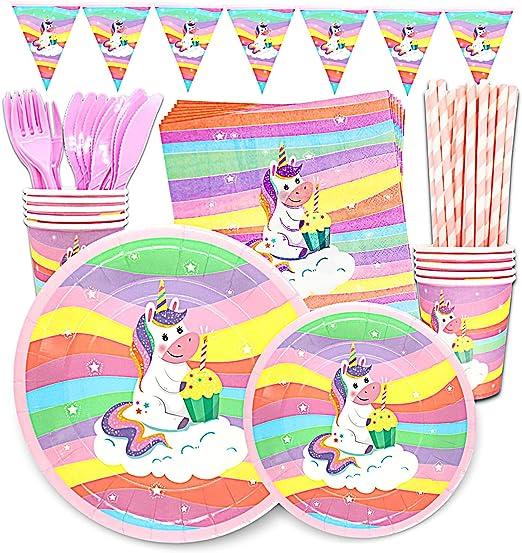 Amazon.com: Juego de 24 platos de unicornio y luces LED para ...