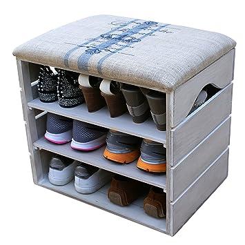 192b8810f56fe8 Meuble Chaussures, Coffre Banc de Rangement pour Chaussures, avec ÉTAGÈRES  en Bois Premium Vintage