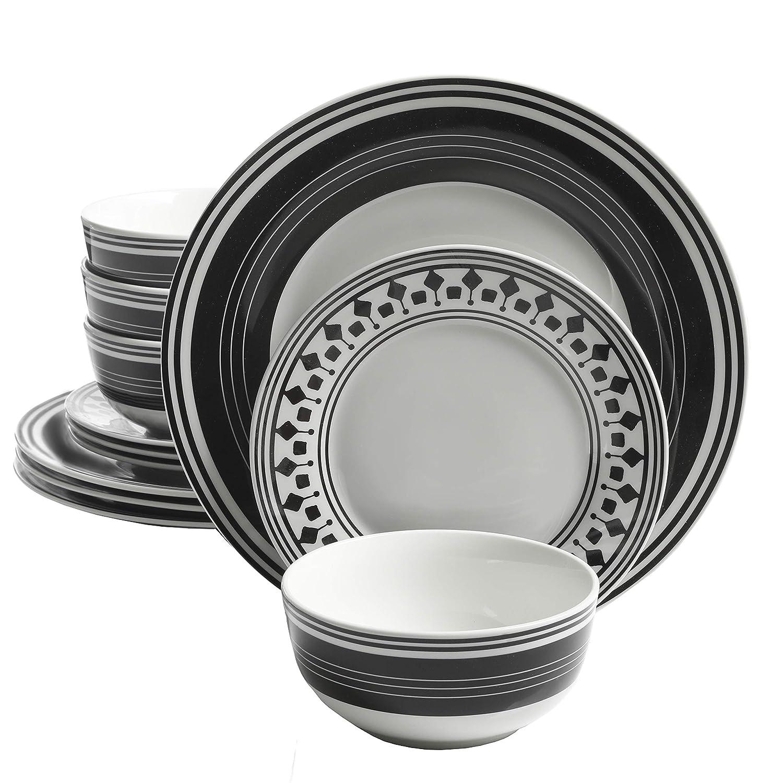 Amazon com gibson home classic melody 12 piece dinnerware set black white dinnerware sets