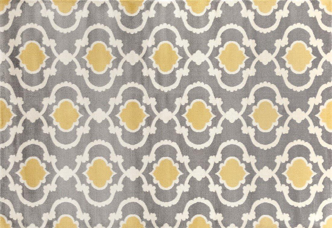 Moroccan Trellis Contemporary Gray Yellow 2 x 3 Indoor Area Rug