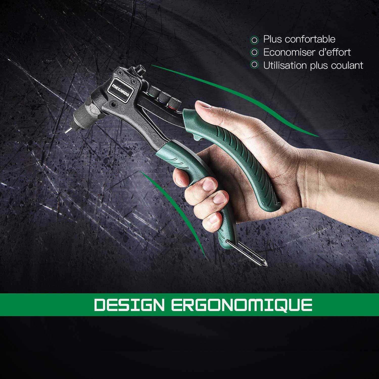 Jeu de pistolet /à riveter 4 en 1 avec 40 rivets Pince de Rivetage METAKOO Pistolet /à riveter MHR01H Pistolet /à riveter manuel