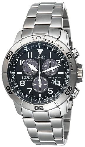 Citizen Hombres Eco-Drive de Titanio Perpetual Calendario Cronógrafo Reloj # BL5250 - 53L: Amazon.es: Relojes