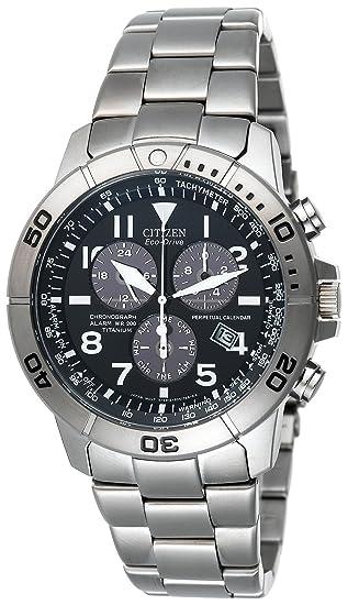 Citizen Hombres Eco-Drive de titanio Perpetual calendario Cronógrafo Reloj # BL5250 – 53L