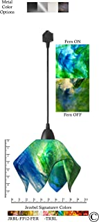 product image for Jezebel Signature Flame Track Lighting Pendant Small. Hardware: Black. Glass: Fern