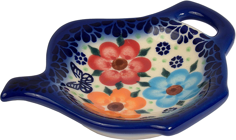 H Coupelle pour sachet de th/é ou petite cuill/ère en forme de th/éi/ère en poterie traditionnelle 10/cm de diam/ètre 301  Bluelace Collection