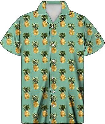 Coloranimal Hawaii Cuello Camisas para Hombre Verano Aloha Camisa Botón Abajo Manga Corta 2XS-4XL: Amazon.es: Ropa y accesorios