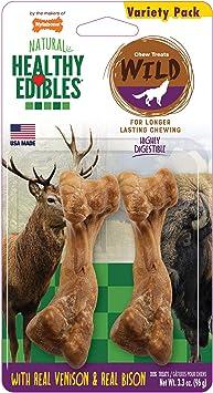 Nylabone Healthy Edibles Wild Venison and Bison Dog Treat Bones | Amazon