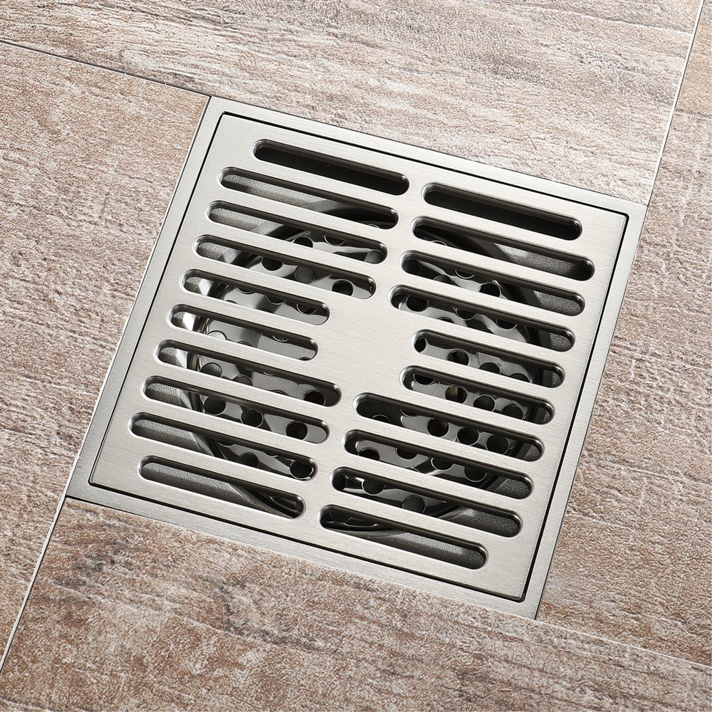 Square Shower Floor Drain Tile Insert 4-Inch Bathroom Copper Floor Drain Anti-Backwater Insect Prevention Deodorant Floor Drain Large Flow Drainage Floor Drain by YJZ (Image #4)
