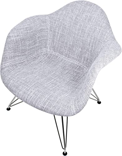 Mid-Century Modern Woven Fabric Upholstered Accent Arm Chair Set of 2 Gray