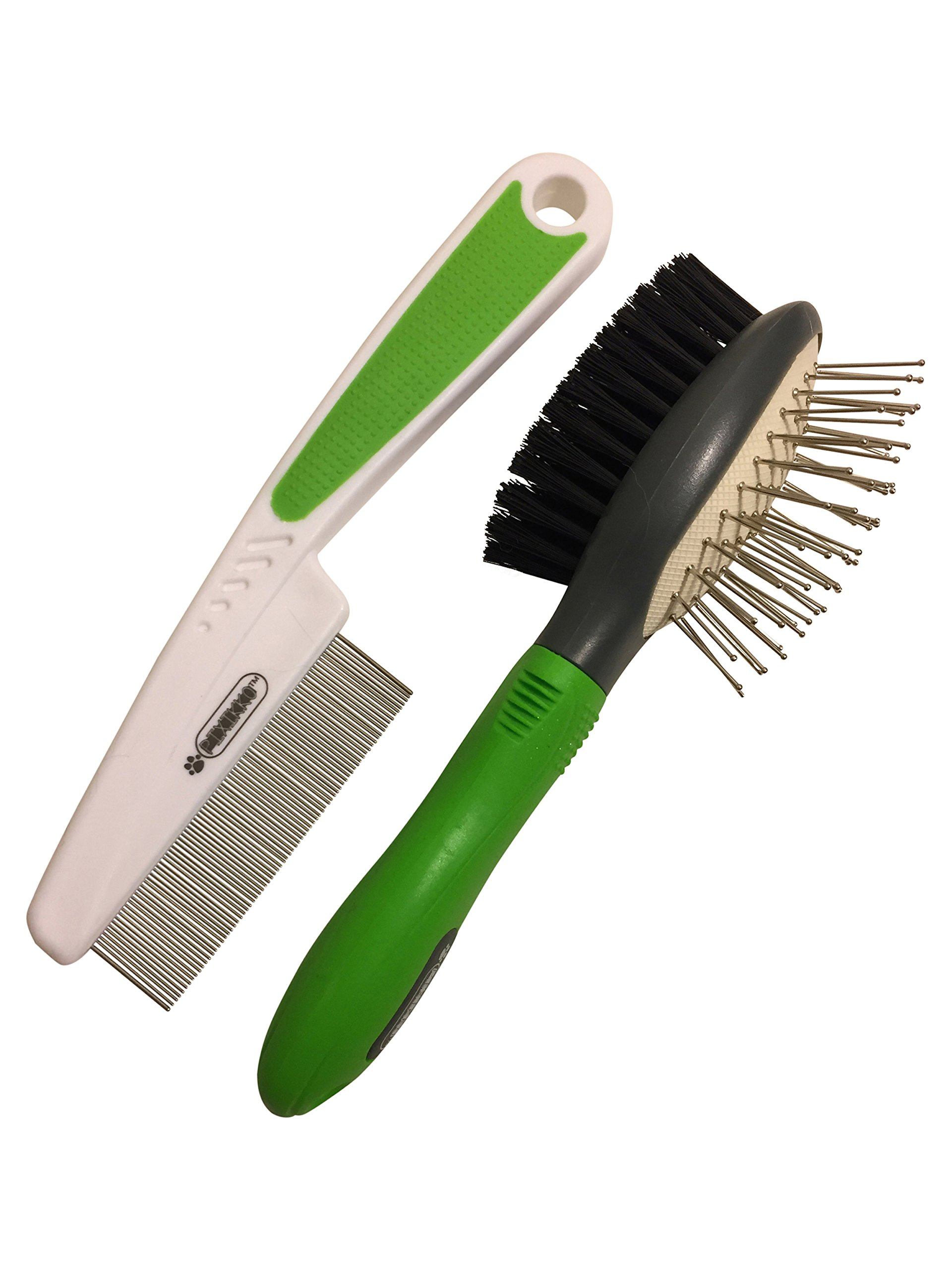 Pixikko 2-PC Pet Grooming Set: Flea Comb + Pin Bristle Double Sided Brush for Cats, Kittens, Small Dogs, Small Animals Daily Grooming.