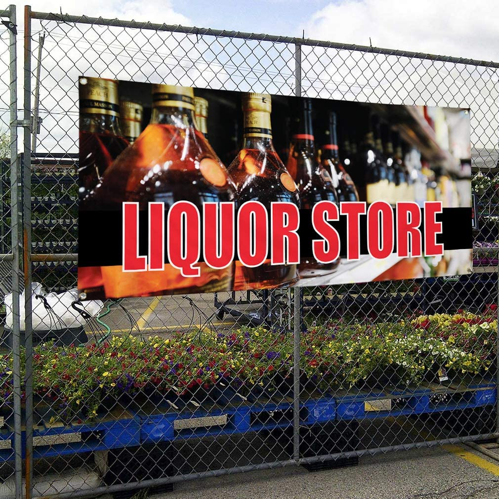 Liquor Drinks Shop Restaurant Unique Notice Novelty Indoor Outdoor Advertising Vinyl Banner Sign With Metal Grommets