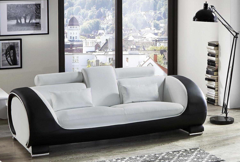 SAM® Design Sofa Vigo 3-Sitzer in weiß-schwarz mit bequemen verstellbaren Kopfstützen, futuristisches Design, angenehmer Sitzkomfort, pflegeleichte Oberfläche, Lieferung montiert per Spedition