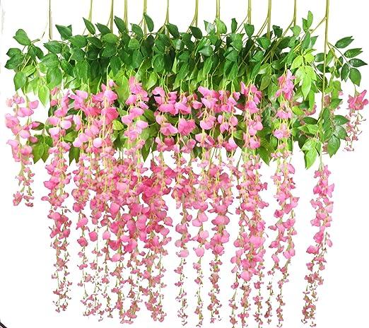 Artificial Flor Guirnalda Rústico Boda floral de Vid Wisteria Decoración De Exteriores