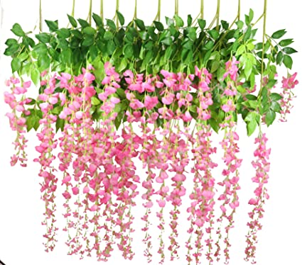 Amazon Lannu 12 Pack 36 Ft Artificial Fake Hanging Wisteria