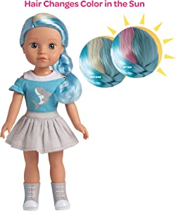 Adora Be Bright Doll, 14 inch Doll Melissa - Shark, Hair Color Changes in The Sun, for Kids Age 3+