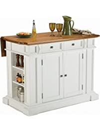 Beautiful Home Styles 5002 94 Kitchen Island, White And Distressed Oak Finish